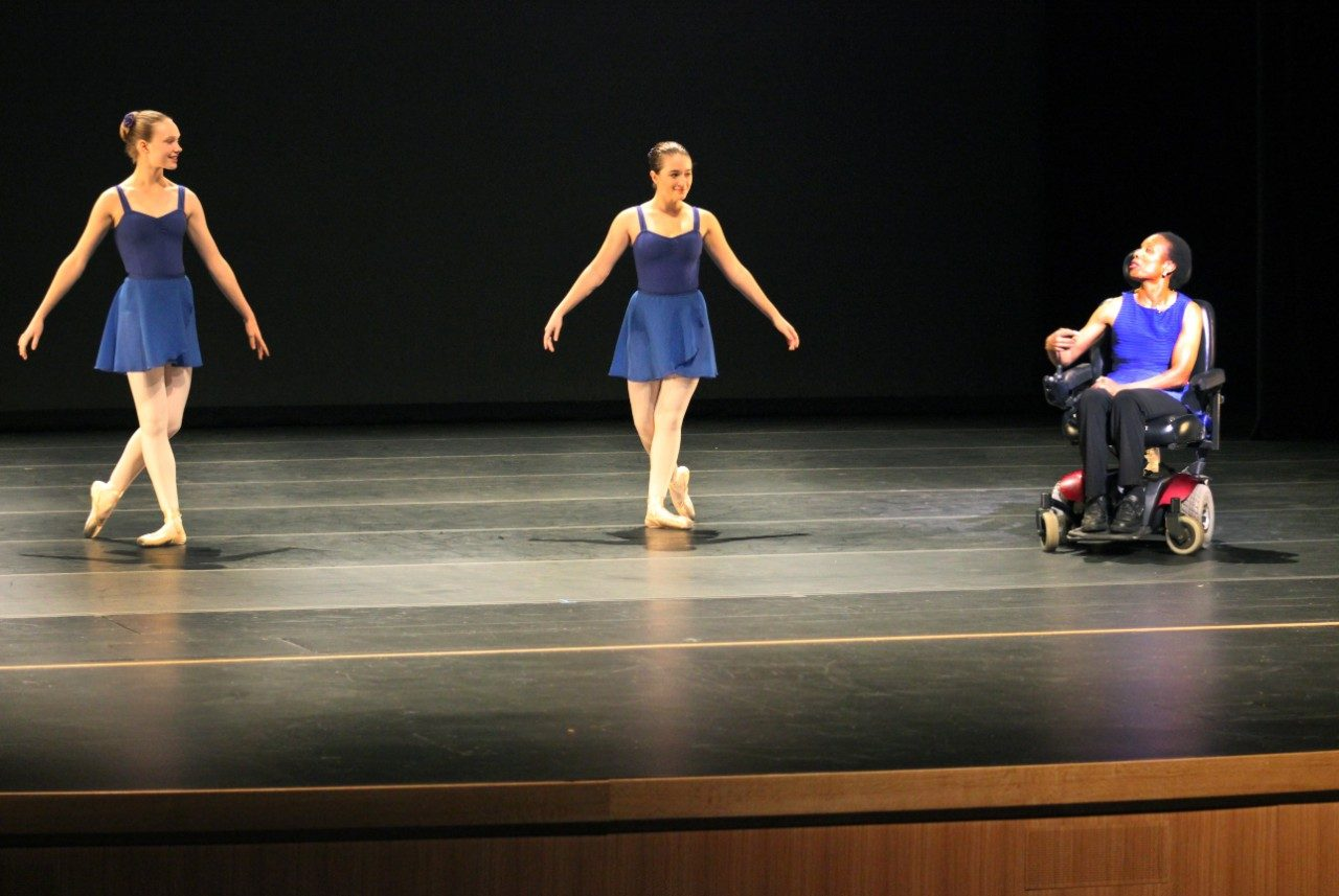 Professional dancer and instructor, Carol Crawford Smith, demonstrates how she teaches from a wheelchair with her students from The Center for Dance.