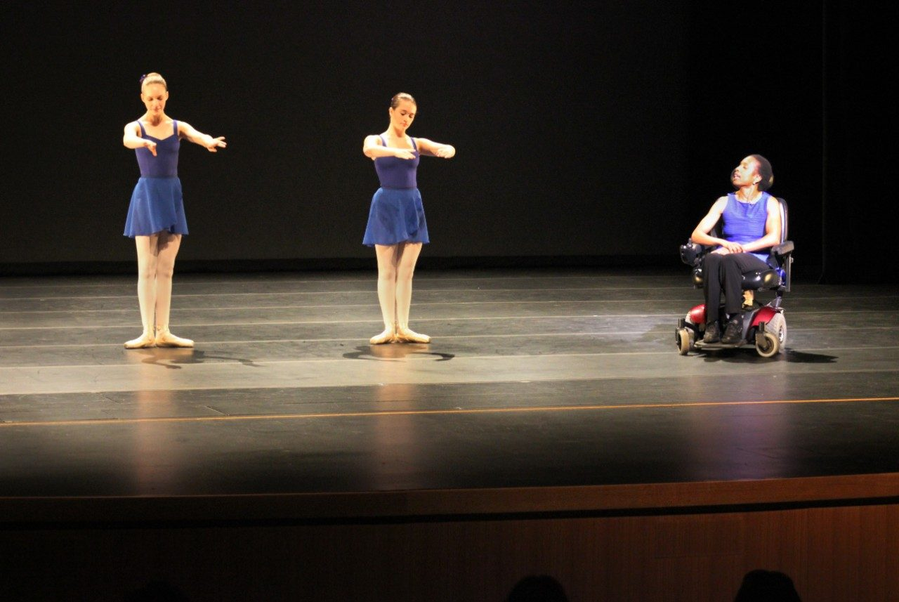 Dancers from the Center for Dance in Blacksburg help their teacher and presenter, Carol Crawford Smith to demonstrate a typical class at the studio